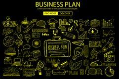 Concept de planification des affaires avec le style de conception de griffonnage : solution en ligne illustration de vecteur