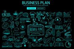 Concept de planification des affaires avec le style de conception de griffonnage : solution en ligne illustration libre de droits