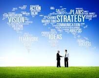 Concept de planification des missions de vision du monde d'analyse de stratégie Image libre de droits