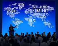 Concept de planification des missions de vision du monde d'analyse de stratégie Photo stock