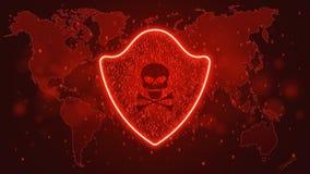 Concept de pointe d'ordinateur Un bouclier au néon rougeoyant rouge d'un code binaire Entailler le système Un crâne foncé avec de Photo libre de droits