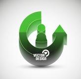 Concept de pointe de cercle brillant de flèche du vecteur 3d Images libres de droits