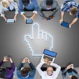 Concept de pointeur de la souris d'icône de connexion internet de Digital Images stock