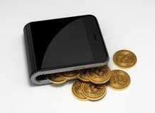 Concept de portefeuille et de Bitcoins de Digital Photo libre de droits
