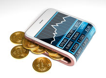 Concept de portefeuille rose et de Bitcoins de Digital Photographie stock