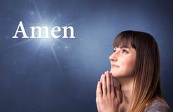 Concept de prière de fille Photo stock