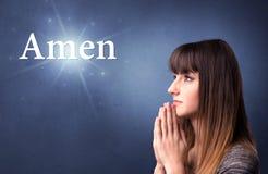 Concept de prière de fille Image libre de droits