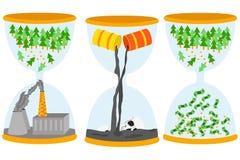Concept de problème d'écologie Sandglasses avec le problème de pollution par les hydrocarbures, échafaudage, pollution atmosphéri Photographie stock libre de droits