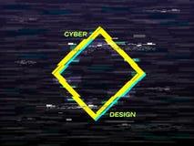Concept de problème Losange jaune et bleu Rétro fond de VHS Forme géométrique avec l'effet de déformation télévision illustration stock