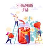 Concept de production de confiture Caractère plat heureux de personnes faisant la confiture de fraise organique savoureuse et fai illustration stock