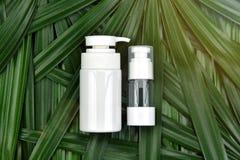 Concept de produit de beauté naturel de soins de la peau, récipients cosmétiques de bouteille sur le fond de fines herbes vert de Image libre de droits