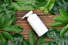 Concept de produit de beauté naturel de soins de la peau, récipients cosmétiques de bouteille sur le fond de fines herbes vert de Images libres de droits