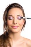 Concept de produits de beauté avec le beau femme de brunette. Photos stock
