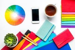 Concept de profession avec des outils de concepteur sur la vue supérieure de fond de bureau de travail photo libre de droits