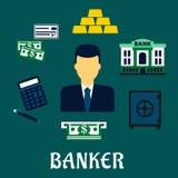 Concept de profession de banquier avec les icônes financières illustration de vecteur