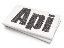 Concept de programmation : Api sur le fond vide de journal Photographie stock
