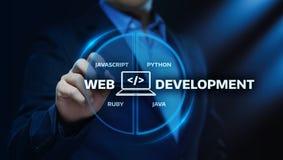 Concept de programmation d'affaires de technologie d'Internet de codage de développement de Web photos stock