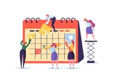 Concept de programme de planification avec des caractères d'affaires fonctionnant avec le planificateur Team Work Together Person illustration stock