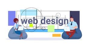 Concept de promoteurs de conception graphique de projet d'affaires de Team Working And Programming Modern de concepteurs de Web illustration de vecteur