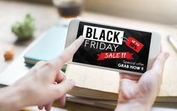 Concept de promotion des prix de remise de Black Friday demi Photo libre de droits