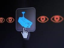Concept de protection : Appareil-photo et oeil sur l'écran de calculateur numérique Photo stock