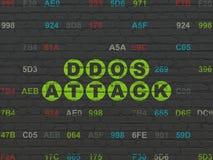 Concept de protection : Attaque de DDOS sur le fond de mur Photographie stock