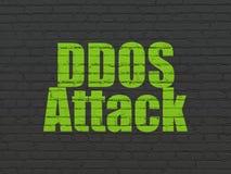 Concept de protection : Attaque de DDOS sur le fond de mur Photos libres de droits