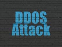 Concept de protection : Attaque de DDOS sur le fond de mur Images stock