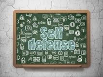 Concept de protection : Autodéfense sur le fond de conseil pédagogique Photos stock