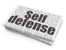 Concept de protection : Autodéfense sur le fond de journal Images stock