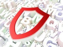 Concept de protection : Bouclier contourné sur l'alphabet Photographie stock libre de droits