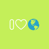 Concept de protection de l'environnement J'aime la terre Affiche de jour de terre Photographie stock