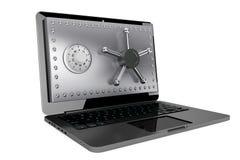 Concept de protection de l'ordinateur. Ordinateur portable avec la porte sûre Images stock