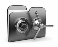 Concept de protection des données. dépliant et blocage 3D Photos libres de droits