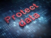 Concept de protection : Le rouge protègent des données sur le fond numérique Photo libre de droits
