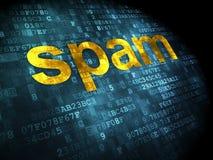 Concept de protection : Spam sur le fond numérique Photos stock