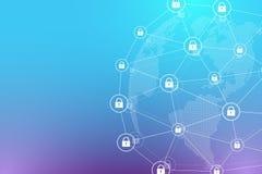 Concept de protection Vérification de protection de bouclier de système de sécurité de données Sécurité de Cyber et information o illustration libre de droits