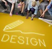 Concept de qualifications d'Art Pencil Drawing Creativity Imagination images libres de droits