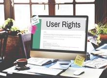 Concept de règlement de politique de règle de termes et conditions de droits d'utilisateurs Images stock