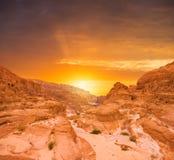 Concept de réchauffement global de fond de paysage de désert Images libres de droits