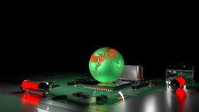 Concept de réchauffement global globe de la terre sur le processeur Photographie stock libre de droits