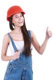 Concept de réparation, de construction et d'entretien - femme de sourire dedans Photo libre de droits