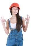 Concept de réparation, de construction et d'entretien - femme de sourire dedans Images stock