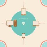 Concept de réseau avec les icônes et le fond Photos libres de droits