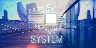 Concept de réseau d'innovation de processeur de circuit de technologie photo libre de droits