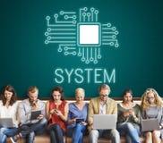 Concept de réseau d'innovation de processeur de circuit de technologie Images stock