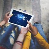 Concept de réseau de connexion de télécommunication mondiale d'interface photo stock