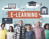 Concept de réseau de technologie d'Internet d'éducation d'apprentissage en ligne Photographie stock