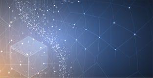 Concept de réseau neurologique Cellules reliées avec des liens Haut technol Photographie stock libre de droits