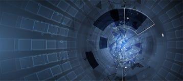Concept de réseau neurologique Cellules reliées avec des liens Haut technol Image stock